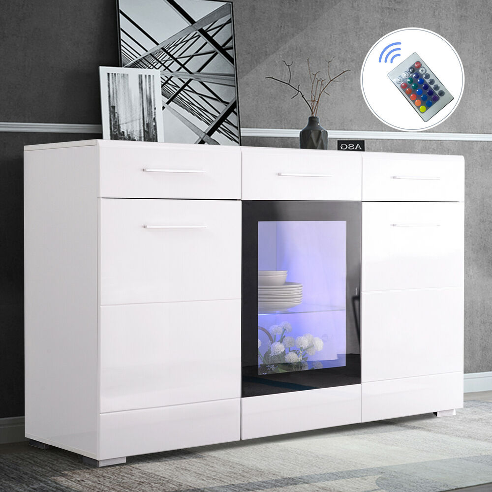 """White Gloss Kitchen Cabinets Ebay: 51"""" High Gloss White LED Light Sideboard Cabinet Cupboard"""