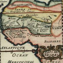 West Africa Land of Negroes Guinea Sahara Nubia 1683 old Mallet map hand color