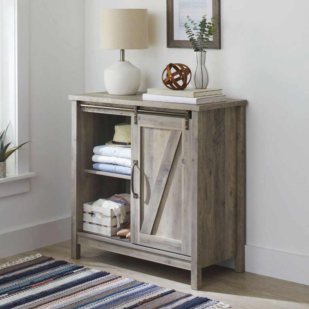 White Farmhouse Sliding Door Cabinet: Farmhouse Accent Storage Cabinet Barn Doors Rustic Bedroom