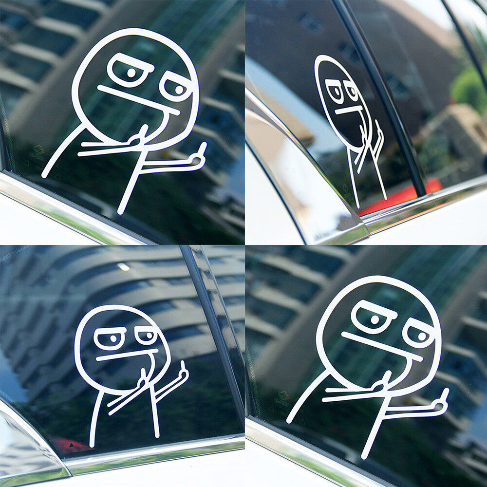 Details about cartoon middle finger funny waterproof reflective car sticker car glass decal