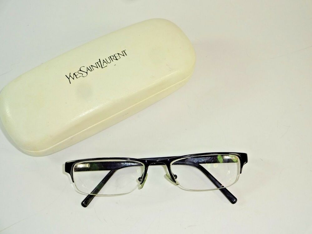 a62b96afa8 Details about Yves Saint Laurent Black Metal Eyeglasses Made In Italy YSL  2228 006 5218 7-4
