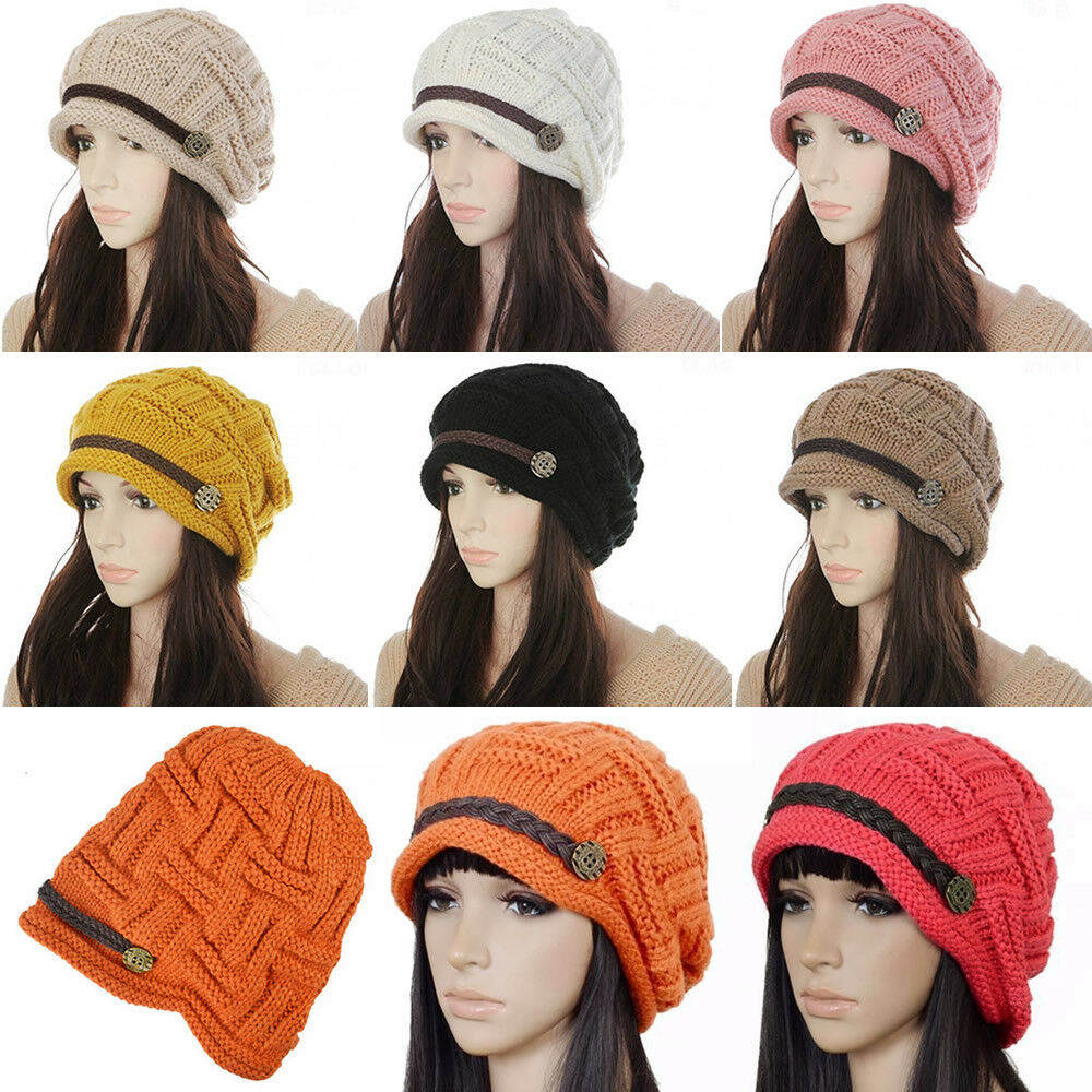 6c05d37a40eb0 Women Girls Winter Crochet Knitted Slouchy Beanie Beret Cap Slouchy Ski Hat  Cap