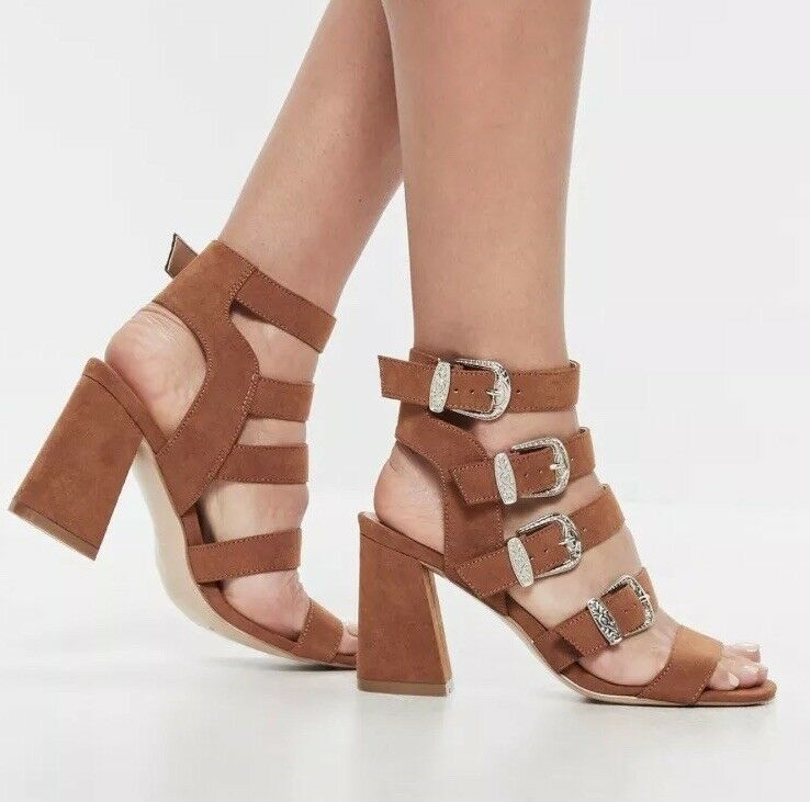 6f04c3024ad0c Missguided Tan brown multi western buckle block heel sandals Size 7 ...