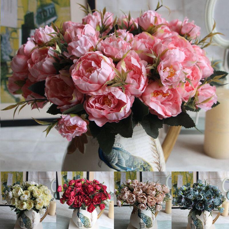 Rose Artificial Peony Silk Flowers Leaf Bouquet Home Floral Wedding
