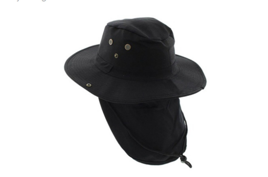 008a6227b36 Details about Boonie Hat with Neck Flap Fishing Hiking Outdoor Cap Snap  Wide Brim Black
