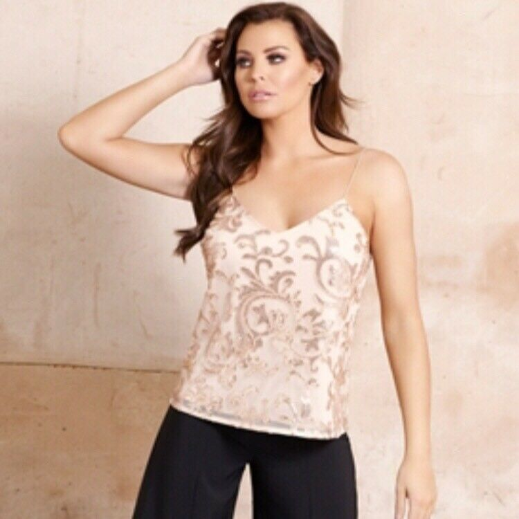 58d76160c71cb7 Details about Jessica Wright   lipsy   Co Gold Sequin Cami Top Oversized  Fit BNWT Size 10
