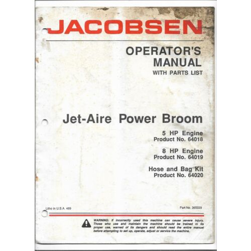 original-jacobsen-jetaire-power-broom-64018-64019-operators-manual-parts-list