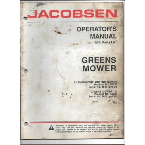 original-jacobsen-championship-greens-mower-operators-manual-parts-list-364080t