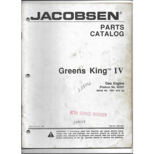 original-jacobsen-62257-greens-king-iv-w-gas-engine-parts-catalog-no-3001352