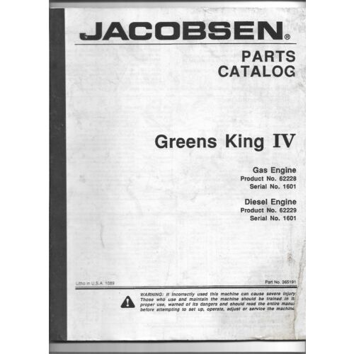 original-jacobsen-62228-62229-greens-king-iv-gas-diesel-parts-catalog-no-365191