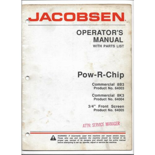 original-jacobsen-8b3-8k3-powrchip-chipper-operators-manual-parts-list-365035