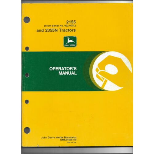 original-oem-john-deere-model-2155-2355n-tractor-operators-manual-oml61595k9