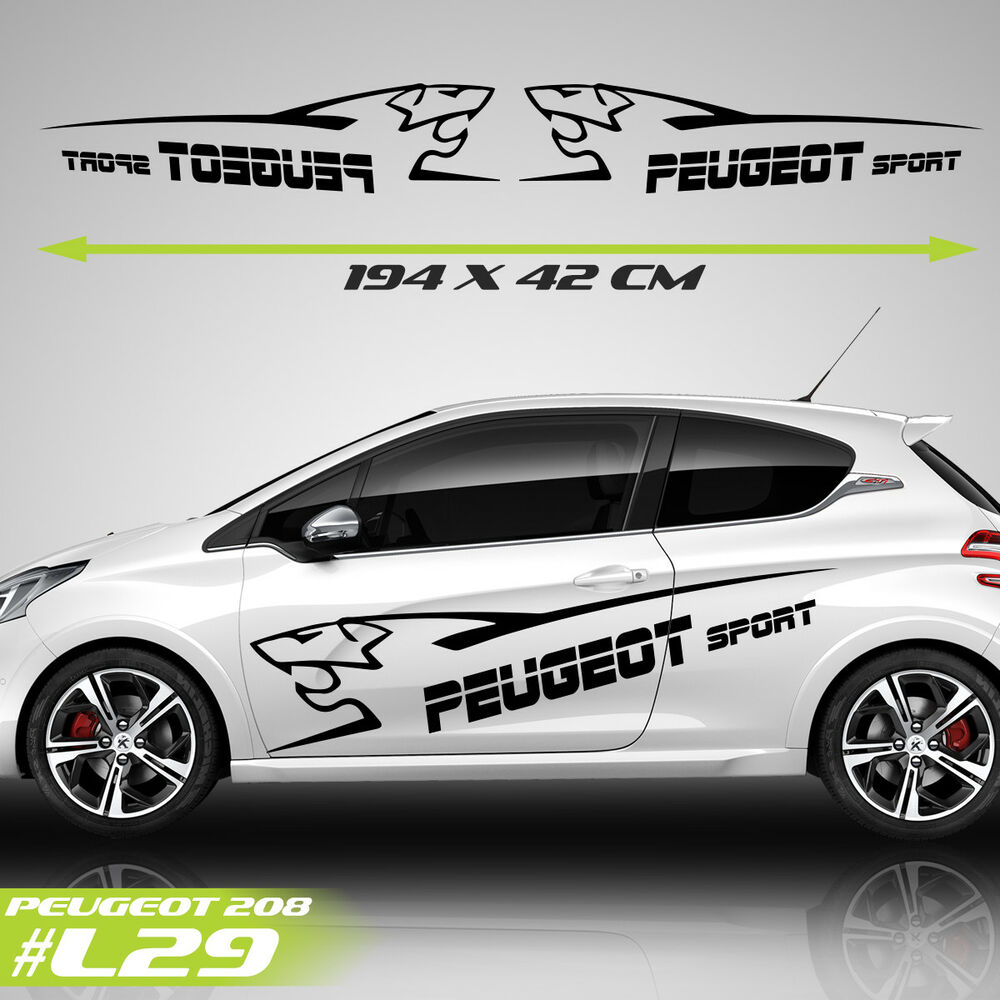 Details about fits peugeot 208 2 door side racing stripes car stickers graphics vehicle