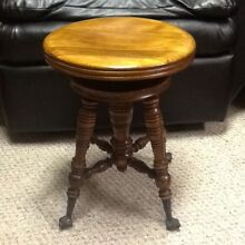 Vintage Swivel Wood PIANO STOOL Seat Bench Chair Glass Ball Claw Foot Antique