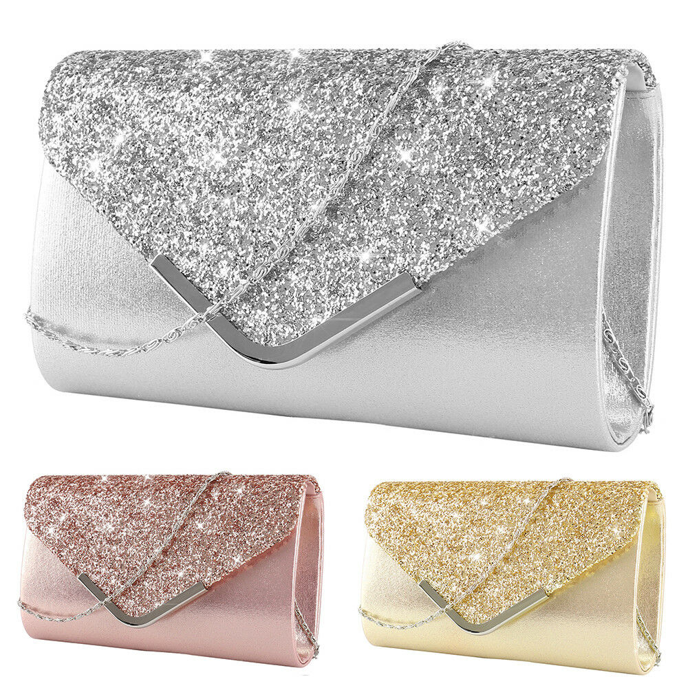 Women Glitter Silver Prom Handbag Wedding Evening Clutch Tote Bag Party  Purse UK  27949ef4b
