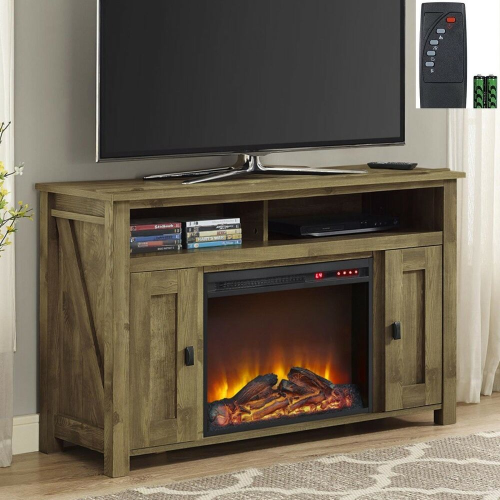 Rustic Tv Stand Fireplace W Remote Media Console Entertainment