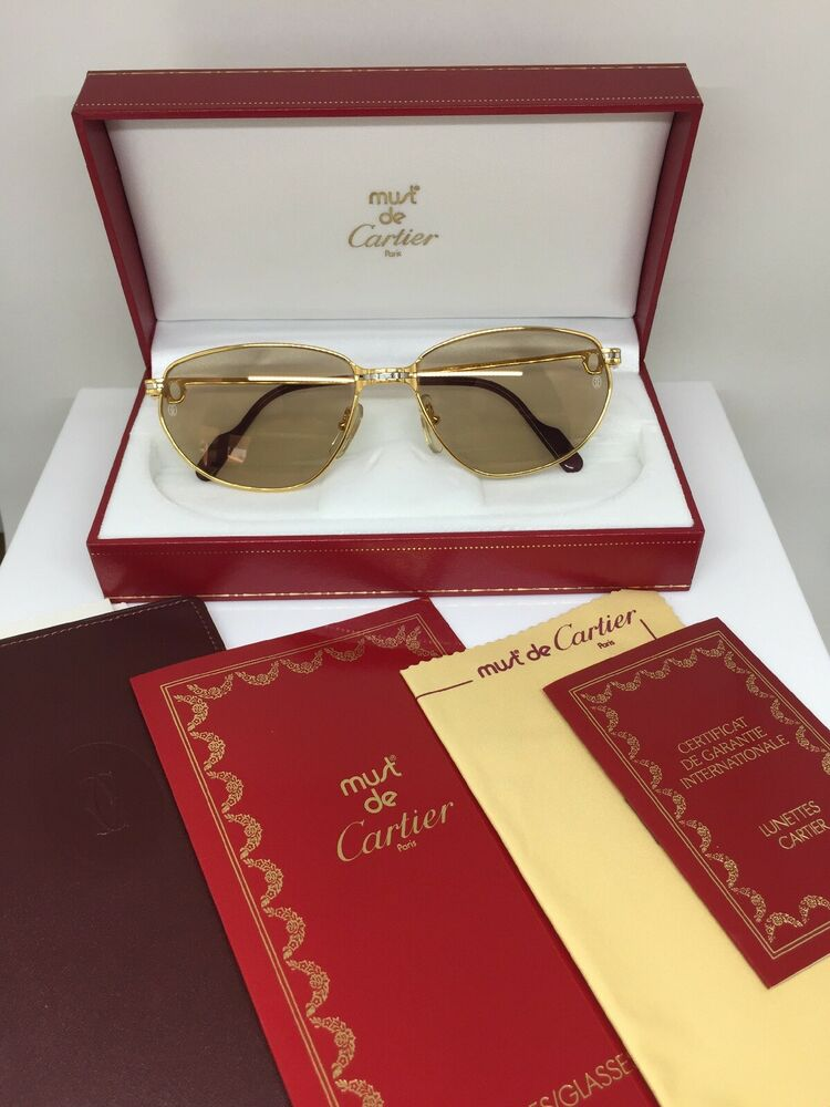 cfc055ba8db2 New Vintage Cartier Saint Honore Limited Series Sunglasses W Sapphire 1980s  51mm