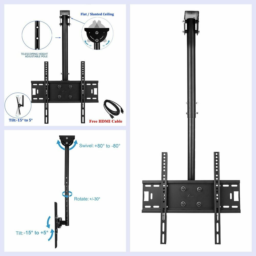 Details About Ceiling Mount Tv Wall Bracket Roof Rack Pole Retractable For 26 50 Flat Screen