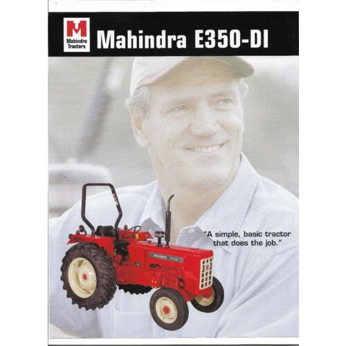 original-mahindra-e350di-tractor-dealer-sales-brochure-spec-specifications-sheet
