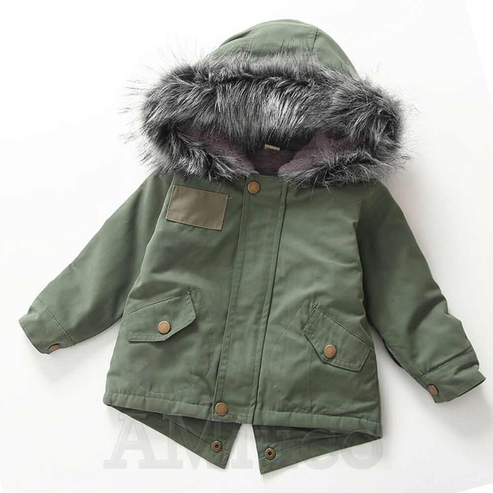 a686ea1f6000 Kids Unisex Winter Coat Thick Fur Collar Jacket Boys Girls Hooded ...