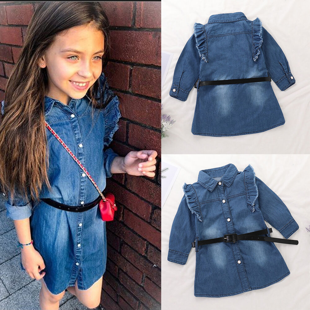Toddler Baby Girls Kids Clothes Long Sleeve Party Denim Jeans Tops T