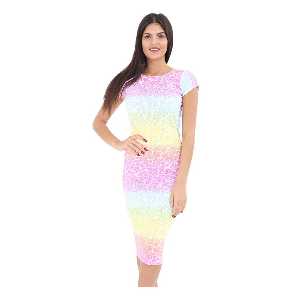 413cc01a1f Details about Womens Celebrity Leopard Summer Rainbow Bodycon Stretchy Cap  Sleeve Midi Dress