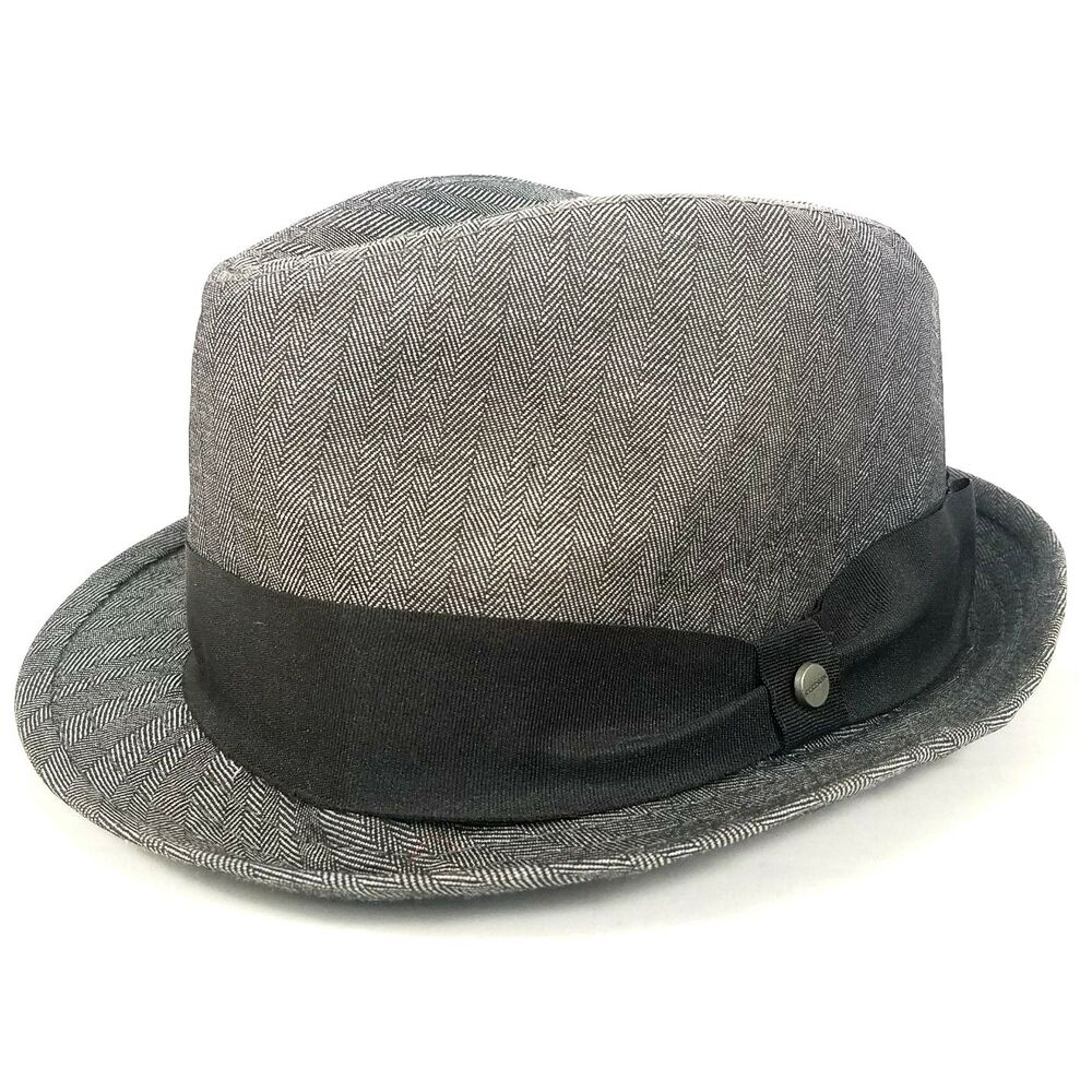 Details about All American Stetson Fedora Hat Herringbone Grosgrain Band  Trillby Cap S M Gray 513dc6ebb92