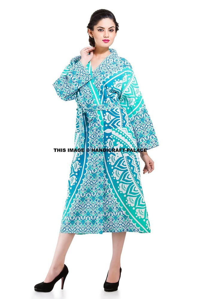92120facc5 Details about Indian Cotton Ombre Mandala Sexy Green Bath Robe Kimono  Casual Dress Sleepwear
