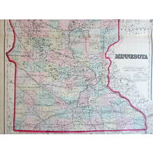 Minnesota large state by itself c.1867 Colton detailed Hand Color Old Map