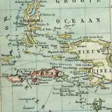 Maluku Moluccas Islands Timor New Guinea 1882 charming small Dutch old map