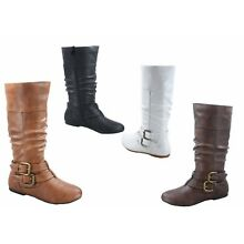 NEW Women's Low Flat Round Toe Flat Zip Buckle Riding Mid-Calf Boots Size 5 - 10