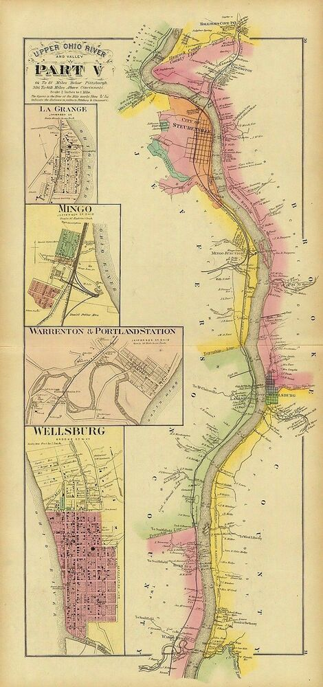 Lagrange Ohio Map.1877 Map Ohio River La Grange Mingo Warrenton Portland Station