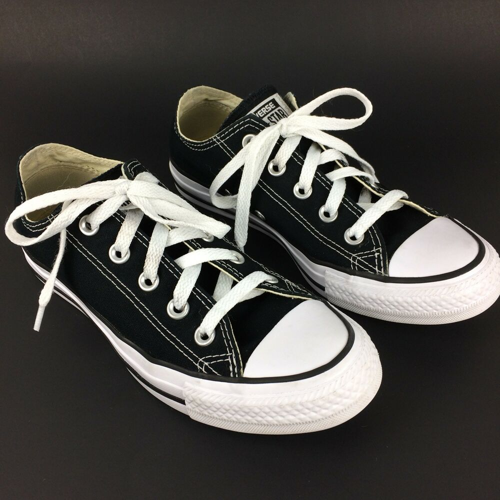 2bd6e184929cc9 Details about Converse All Star Black Canvas Lace Up Low Top Shoes Men s  Size 4 Women s Size 6