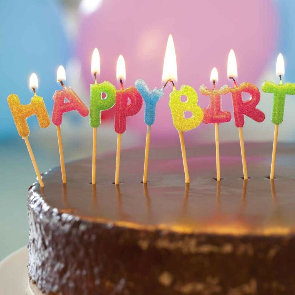 Details About GLITTER HAPPY BIRTHDAY CAKE CANDLES Party Kids Childrens Coloured Letter Toppers