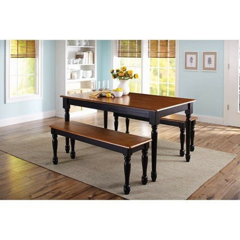 3 Piece Solid Wood Dining Set Table 2 Benches Black/Oak