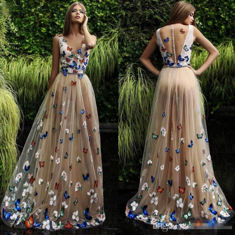 Gorgeous Butterfly Evening Prom Dress 2018 Arabic Formal