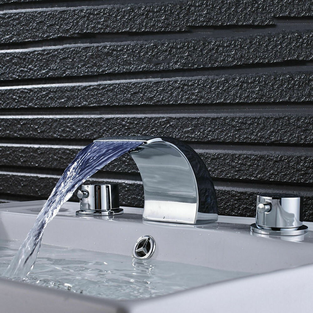 Brushed nickel 8 inch widespread dual knob waterfall spout - 8 inch brushed nickel bathroom faucet ...