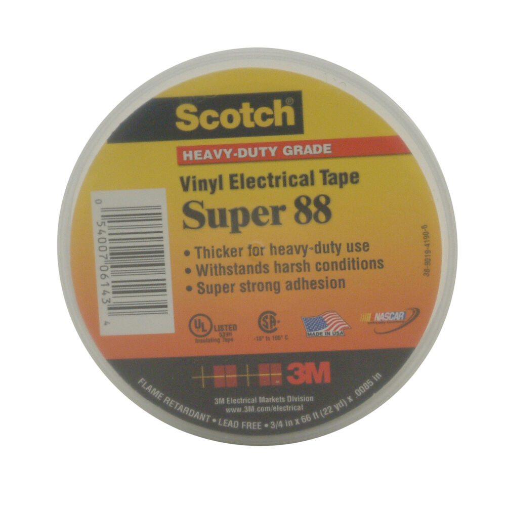 3M Scotch Super 88 Heavy-Duty Grade Electrical Tape: 3/4 in  x 66 ft   (Black) 54007061434 | eBay