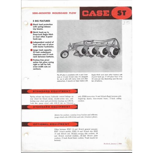 original-1964-case-st44-st46-st54-st56-plows-sales-brochure-specifications-sheet