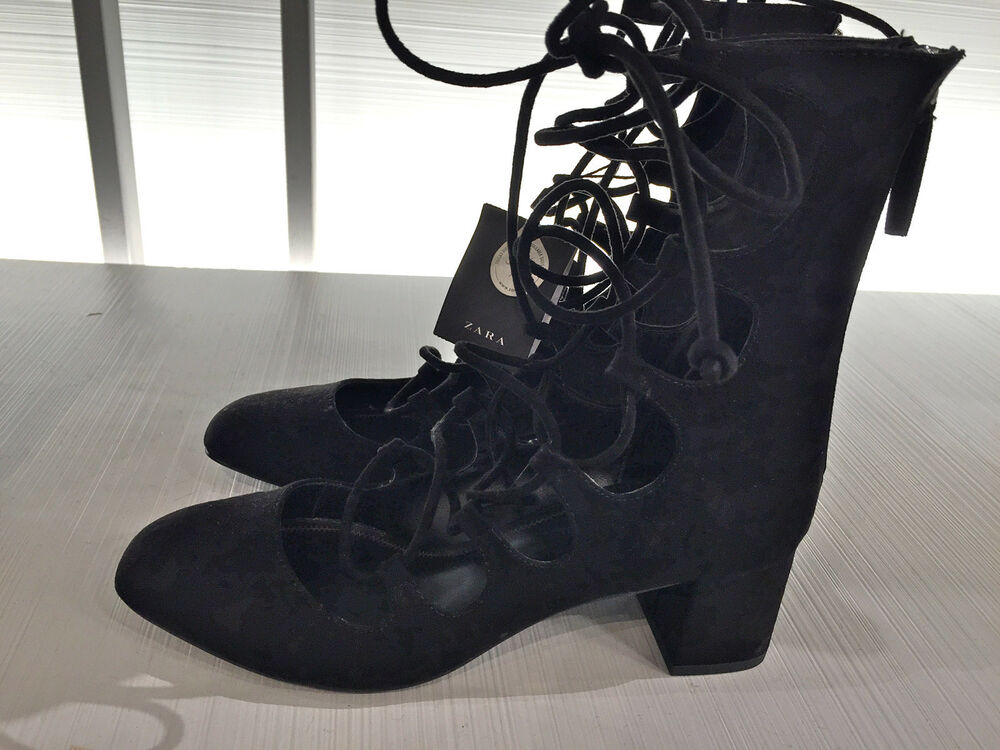 33d7fe24c15 ZARA NEW WOMAN LACE-UP HEELED SHOES BLACK EU 37 UK 4 US 6.5 Ref. 6248 001