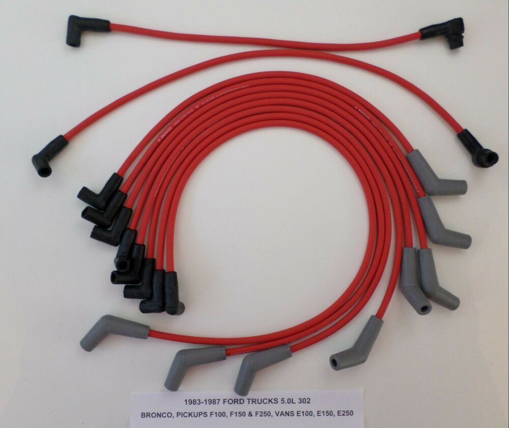 details about 1988-97 ford trucks vans f250 f350 f450 e250 e350 7 5l 460  red spark plug wires