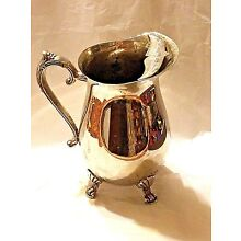 Antique E.P. Brass Stunning Water Pitcher Footed Silver Plated