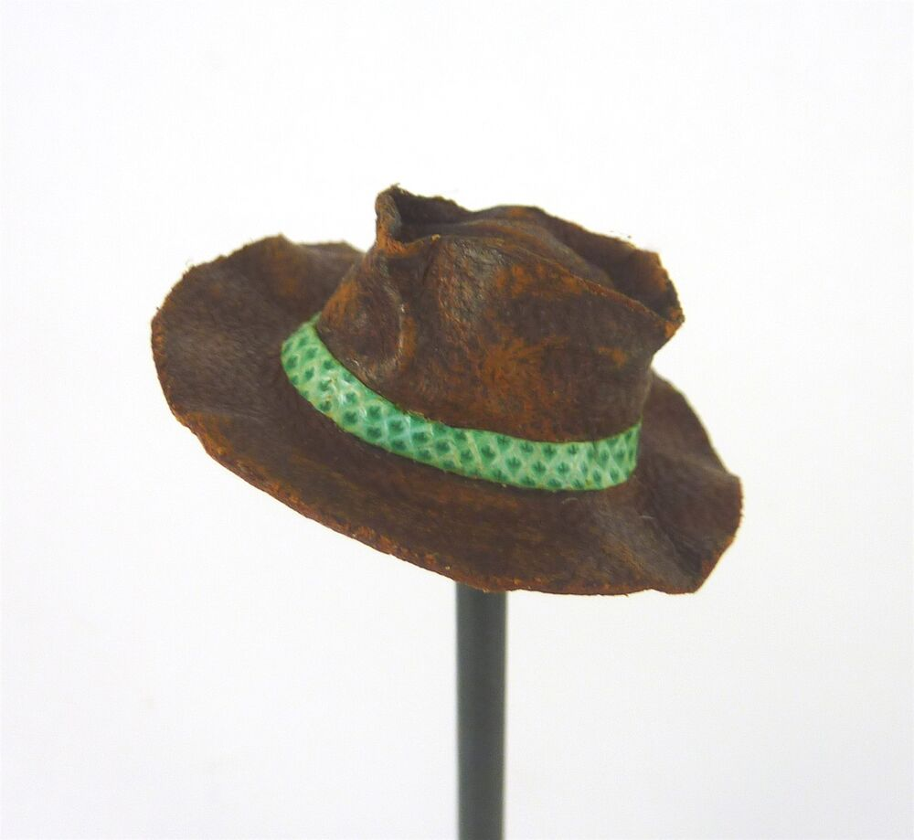 b1832867cbd Details about Dollhouse Miniature Artisan Handmade Aged Brown Leather  Cowboy Hat w  Green Band