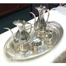 Japanese 4 Piece .950 Silver Tea/Coffee Set Mid 20th Century With Tray
