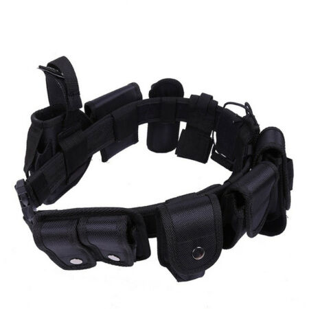 img-Police Guard Tactical Belt Buckles Black 9 Pouches Utility Security System
