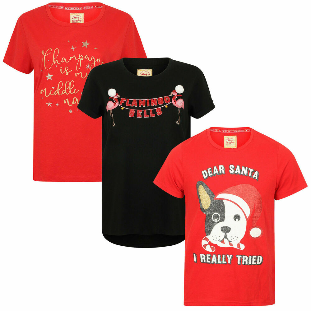 62cff6de Details about Seasons Greetings Womens Novelty Xmas T Shirts Ladies Festive  Christmas Tops