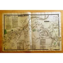 Original 1870 Map ATHOL Athol Depot, MA Massachusetts 2-Page BEERS Very Detailed