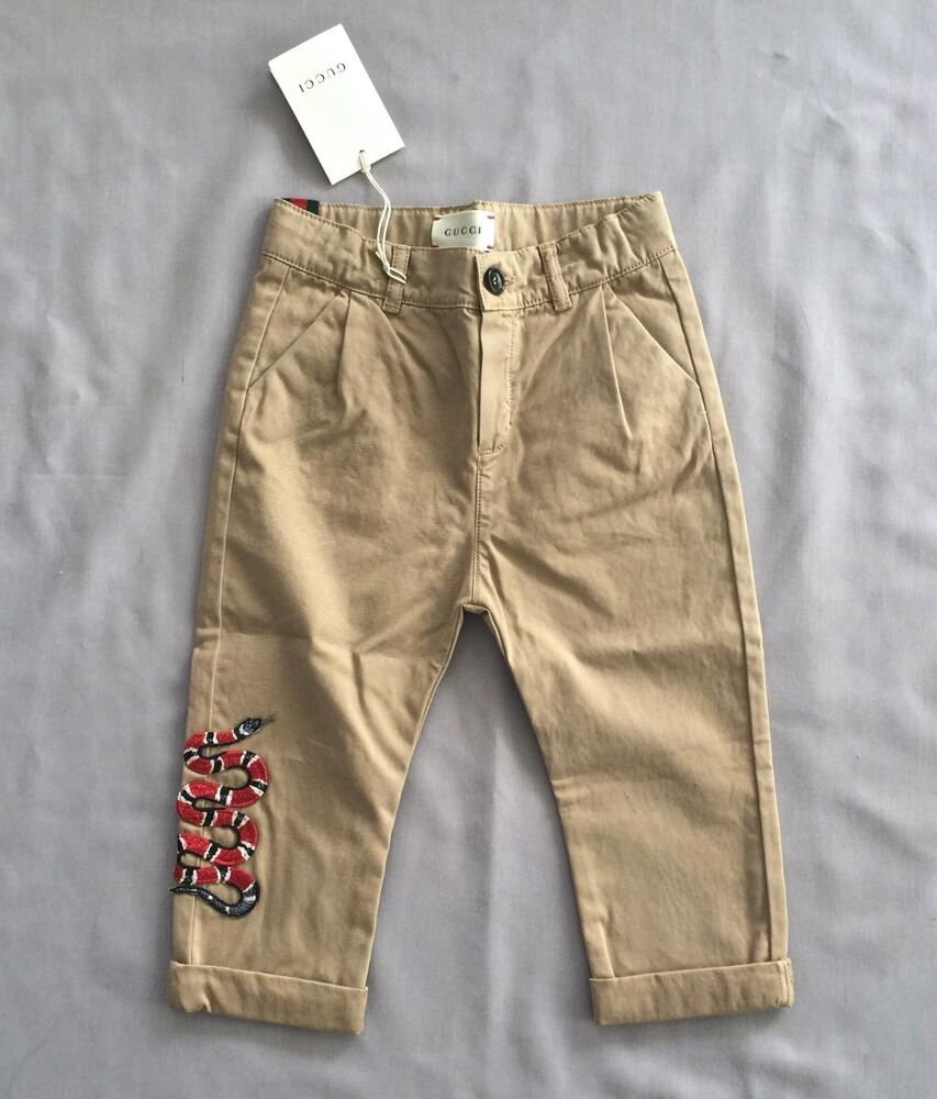 45c25f34007 Details about NWT GUCCI Kids BOYS CHINO FIT PANTS WITH EMBROIDERED SNAKE 1-  2 SZ 18- 24 MONTHS