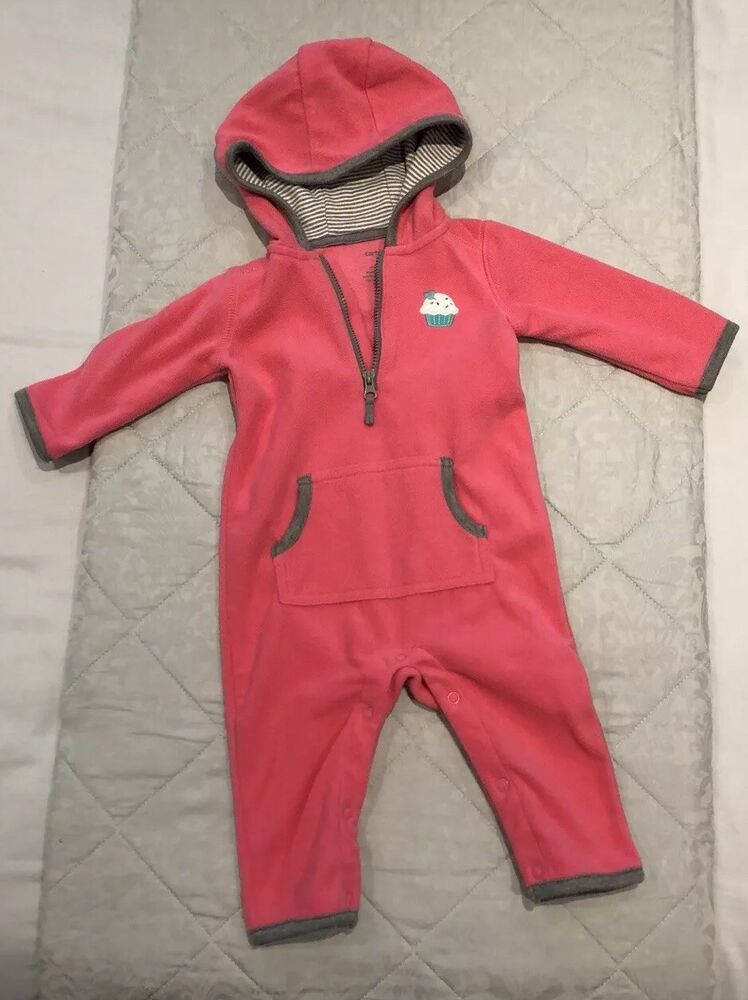 b1eef2b58 Baby girl - Carter's - Pink Micro Fleece Footless All-in-one Jumpsuit - 6  Months | eBay