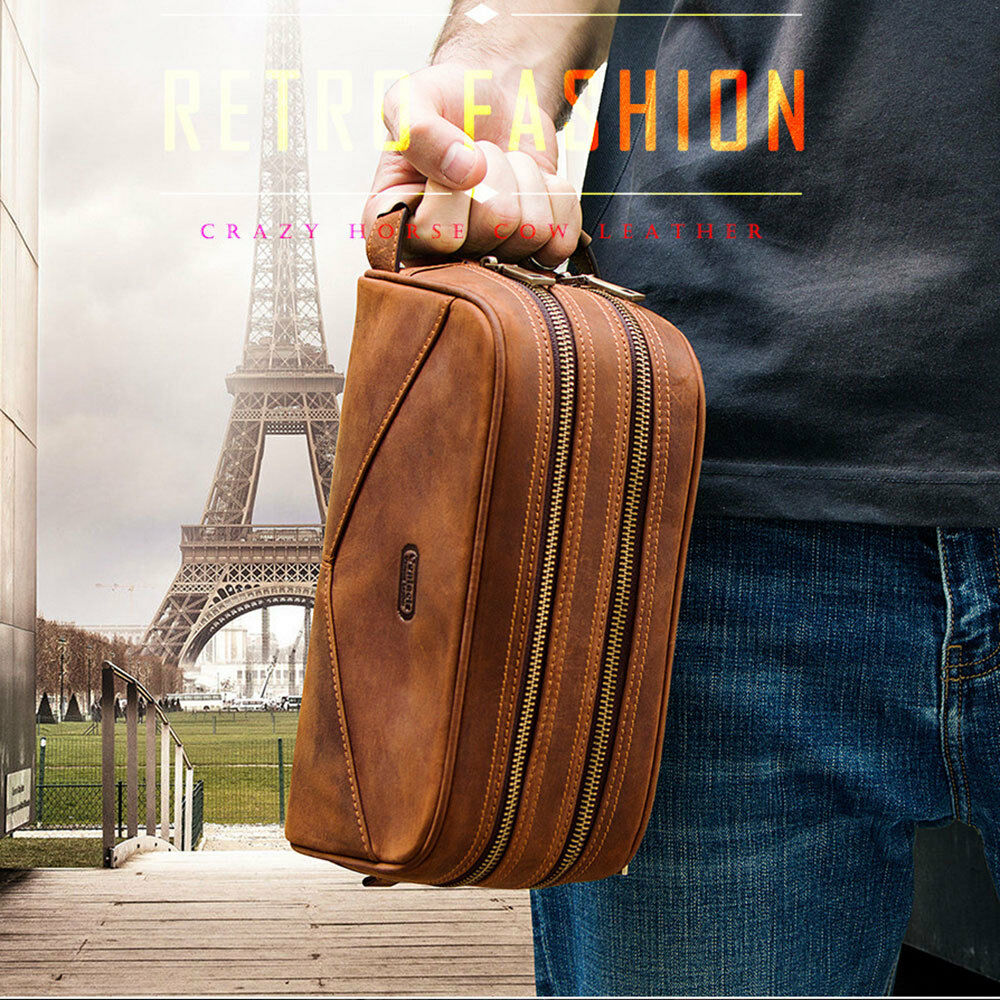 Details about New Leather Two Zipper Toiletry Bag Men Dopp Kit Portable  Travel Organizer Brown 9350ad16f79a8